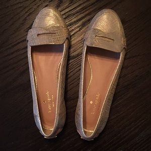 Kate Spade gold loafers EUC size 7M